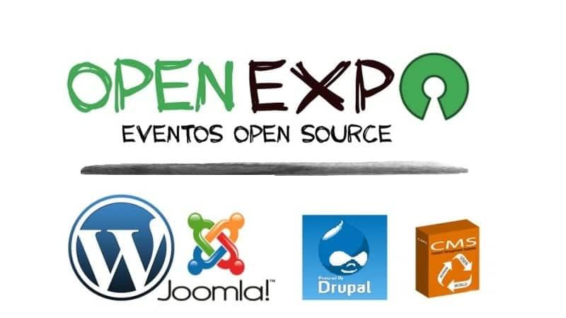 Logo OpenExpo y otros logos de CMS como Wordpress, Joomla, Drupal, etc
