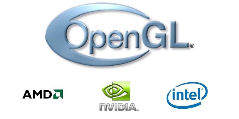 Logo OpenGL en grande y bajo él, los logos de AMD, NVIDIA e Intel