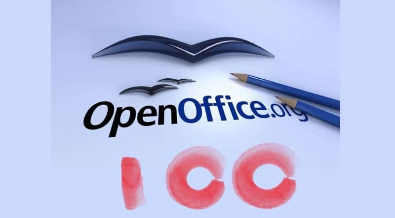 Logo de OpenOffice con inscripción del número 100