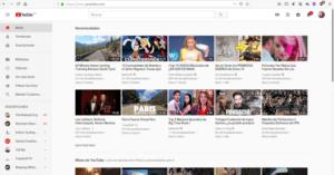 Reproducción de la página de inicio de Youtube