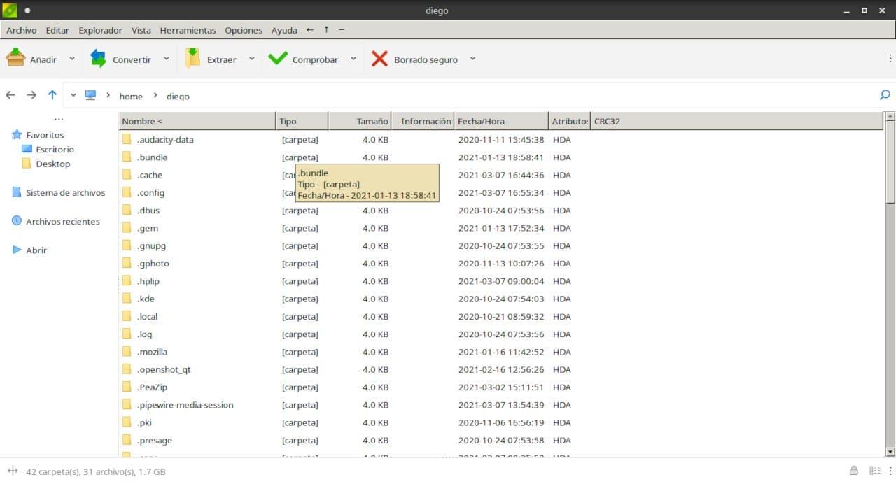 Utilidad de archivos PeaZip