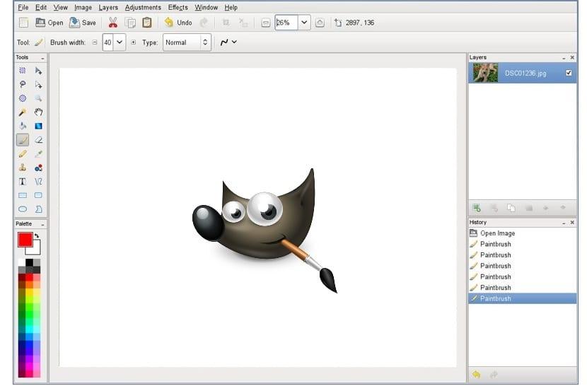 Pinta y logo de GIMP