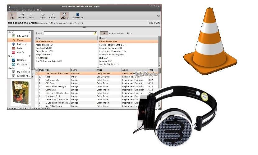 Interfaz reproductor y logo auriculares y VLC