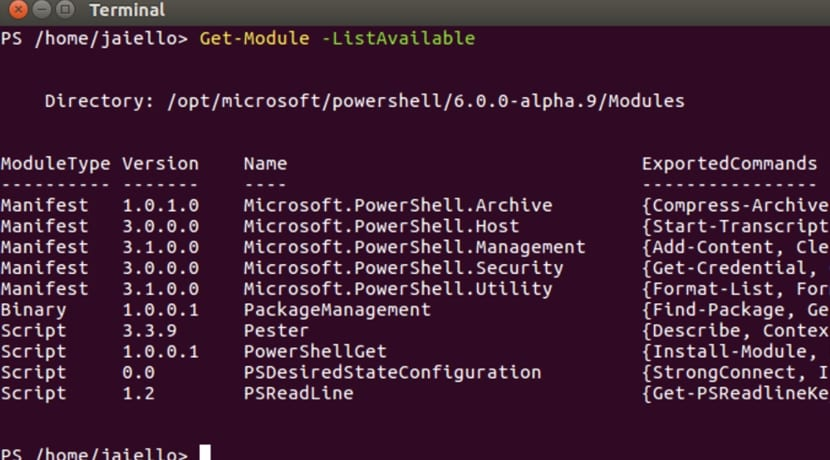 Captura de pantalla PowerShell