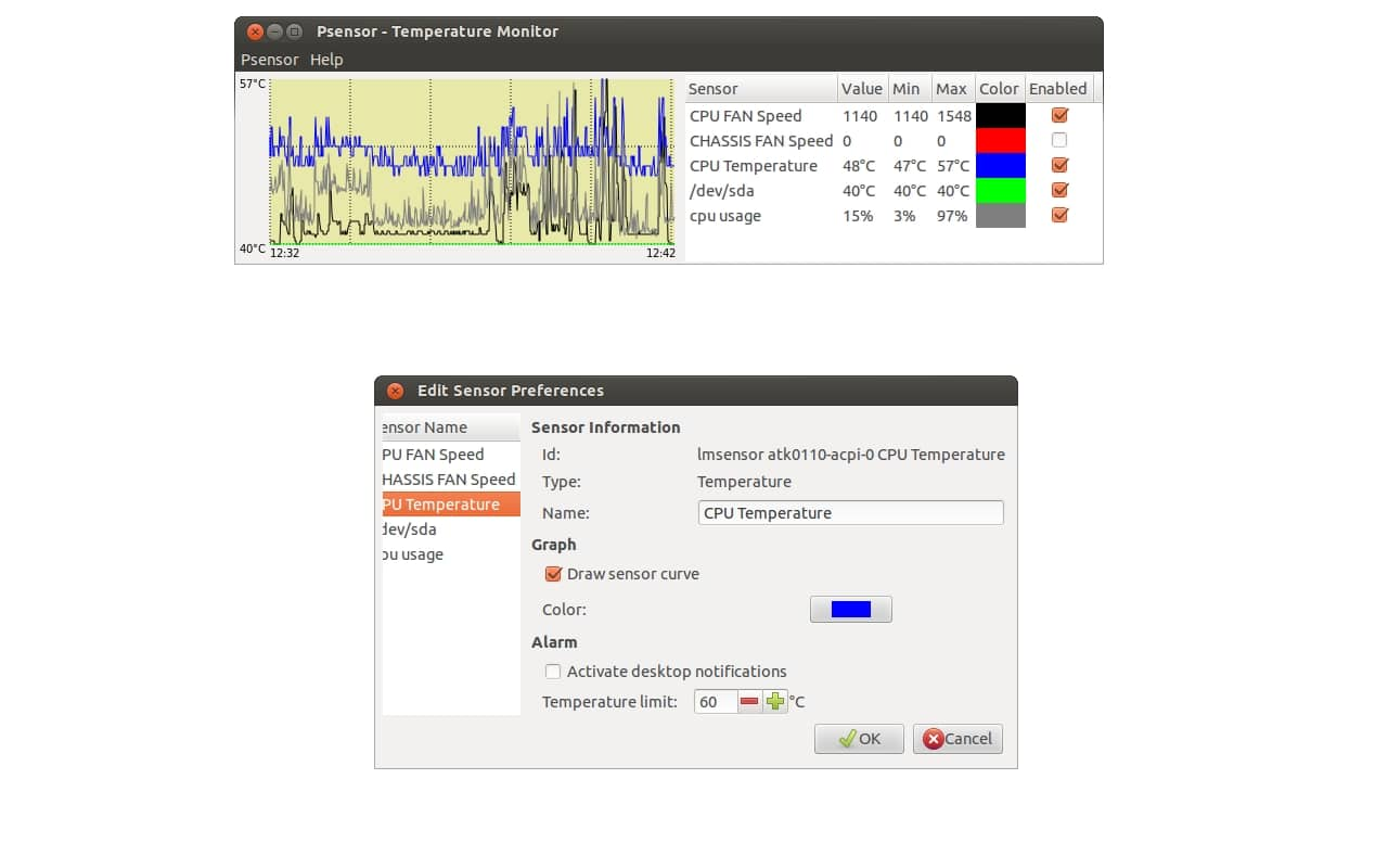Psensor, temperatura CPU Linux