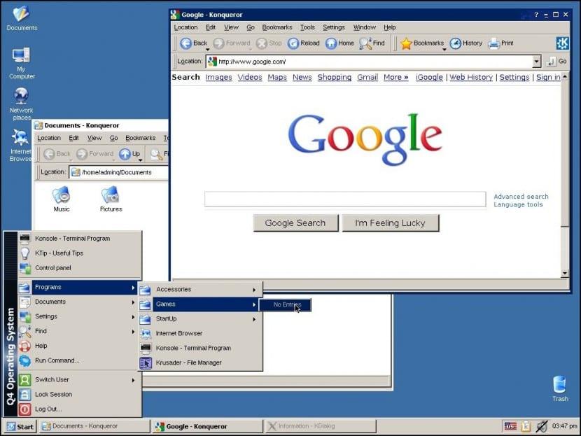 Así lucía Q4OS para ordenadores de 32 y 54 bits. Ahora ésta misma versión ha sido portada para Raspberry Pi teniendo casi todas sus funciones