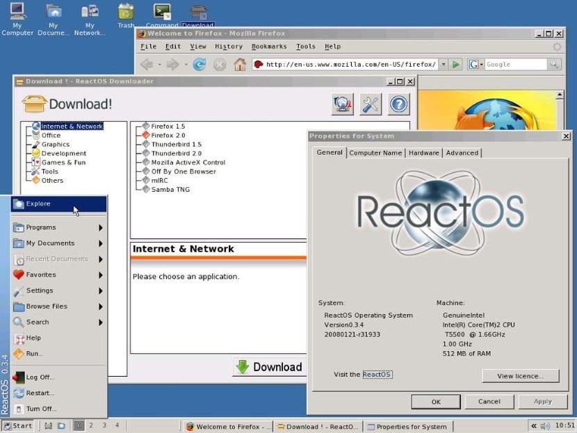 ReactOS 0.4.0 interfaz
