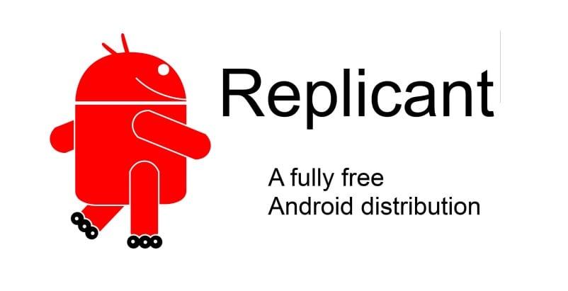 Logotipo de Replicant, similar a Andy de Android, pero en rojo...