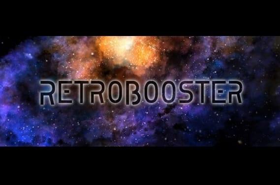 Retrobooster con fondo de cosmos