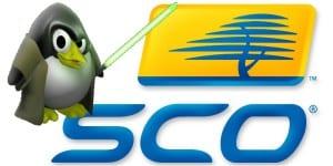 Símbolo de SCO y Tux con espada Jedi