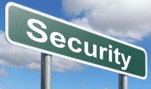 Cartel con la palabra seguridad