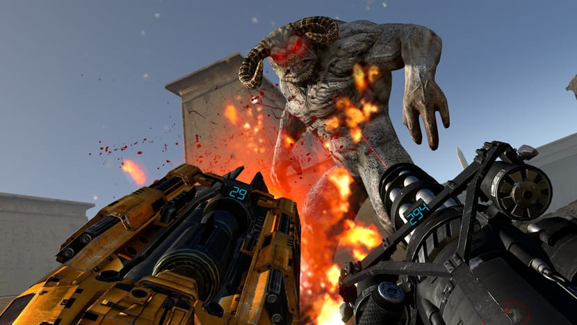 Serious Sam 3 VR: captura de pantalla disparando al mosntruo
