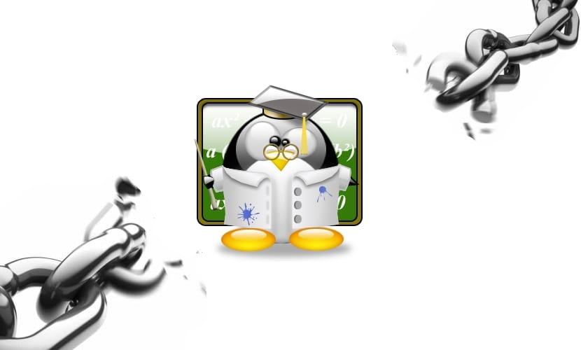 Tux profesor y cadenas rotas