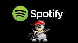 Spotify logo y Tux rockero