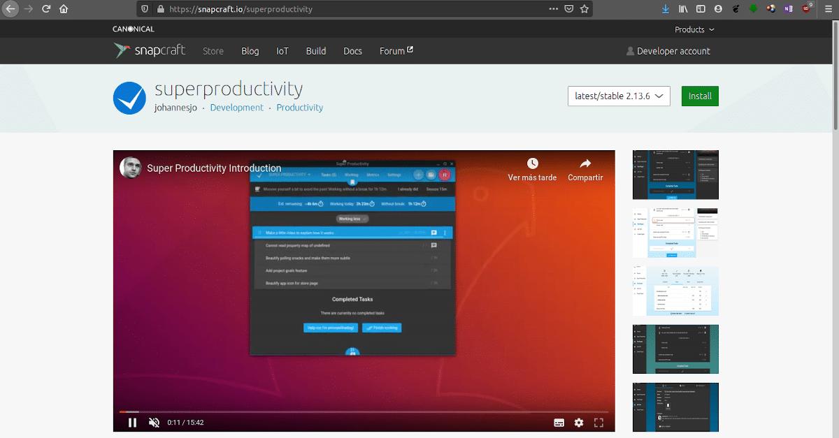 Super Productivity está disponible en formato Snap