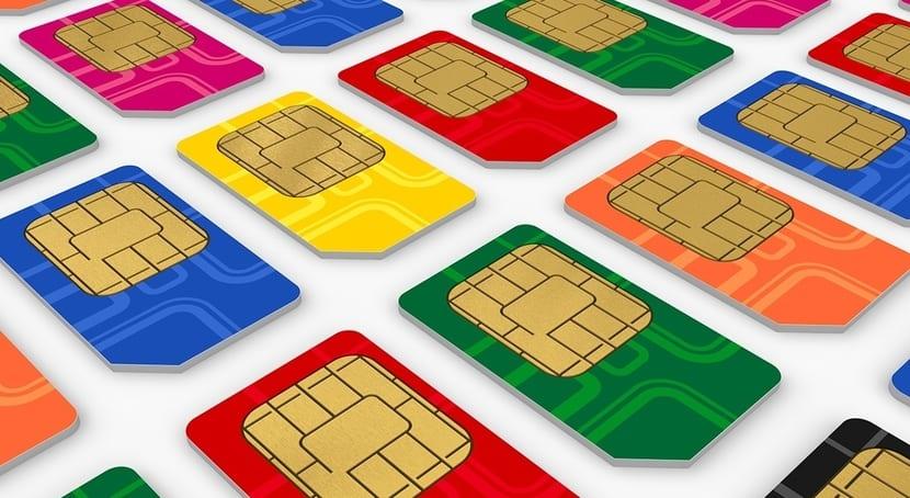 Tarjetas SIM de diferentes colores