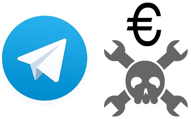 Logo Telegram y calavera