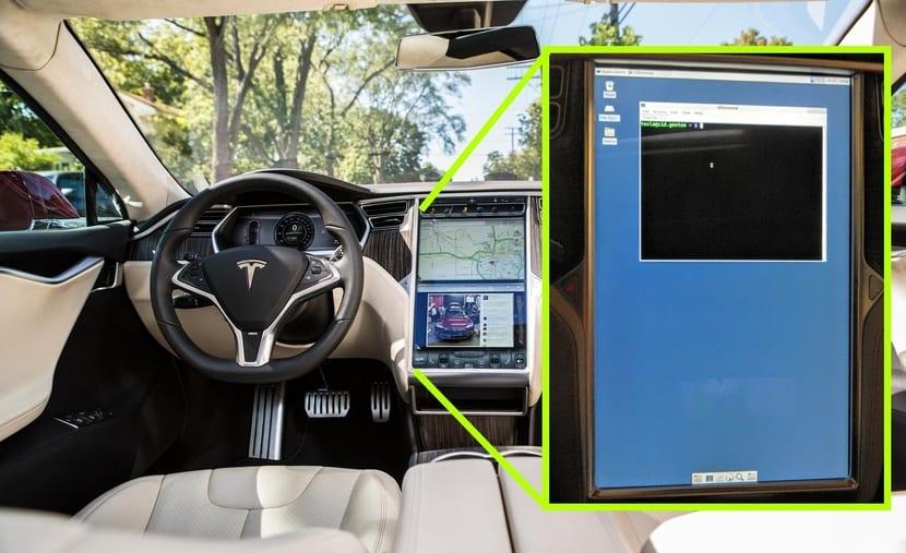 Tesla S con Gentoo Linux en pantalla