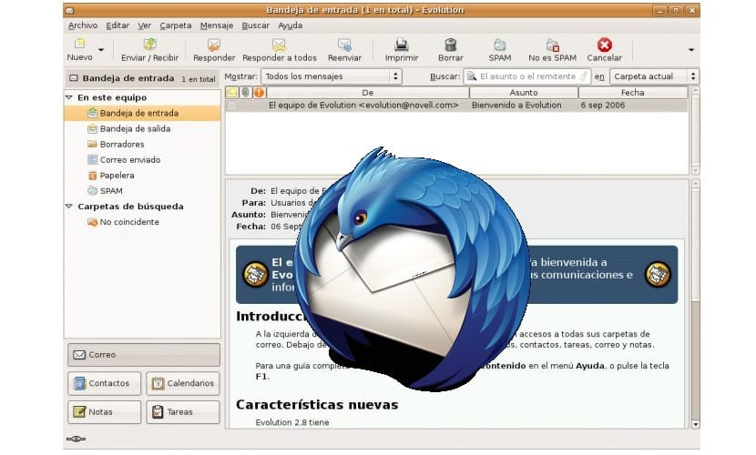 Logo Thunderbird y programa Evolution