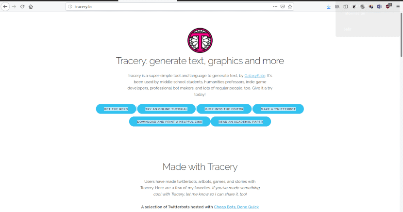 Captura del sitio web de Tracery.