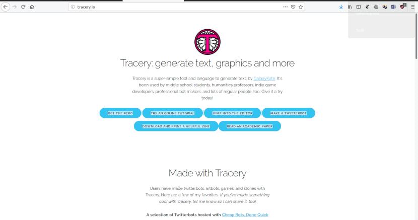Captura del sitio web de Tracery.