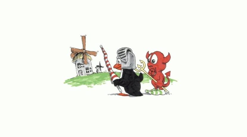 Tux y Beastie Molinos de viento (El Quijote)