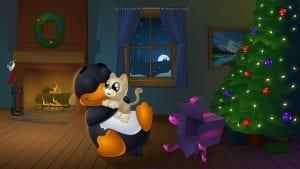 Tux Navideño con regalo