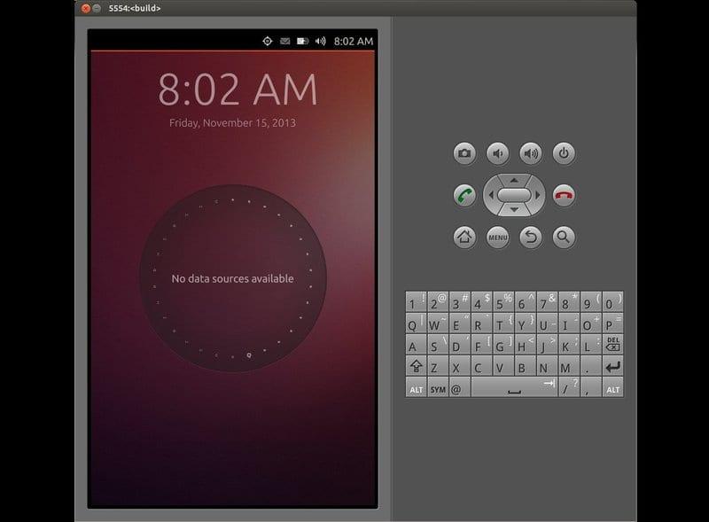 Interfaz del Emulador Ubuntu Touch