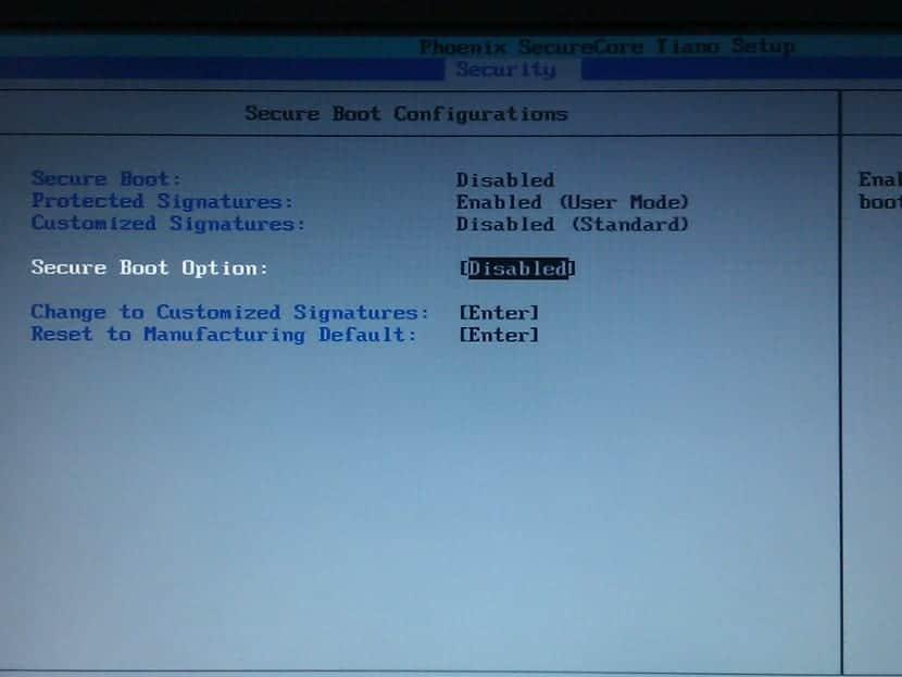 UEFI Setup menu