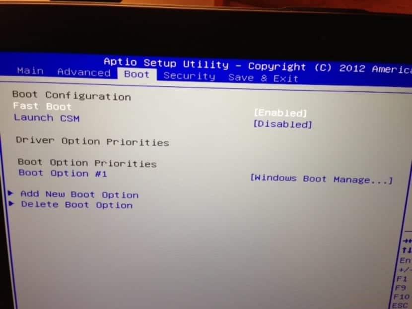 UEFI CSM y FastBoot: opciones