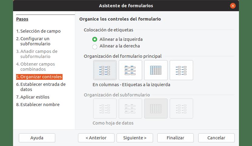 En esta pantalla podemos seleccionar la forma en que se van a ordenar los campos de un formulario.