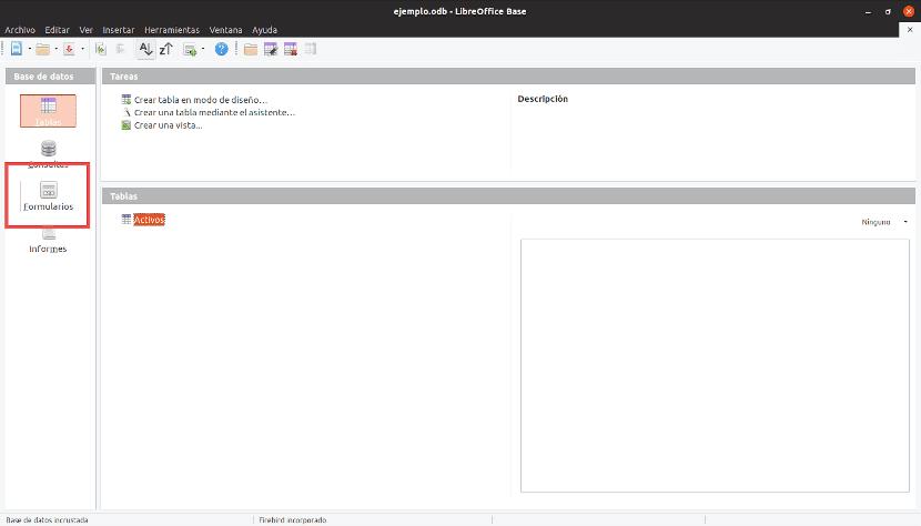 Desde la ventana principal de LibreOffice Base podemos acceder a los distintos accidentes