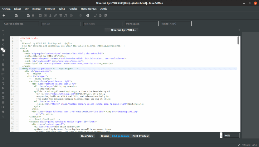 Vista de código de BlueGriffon