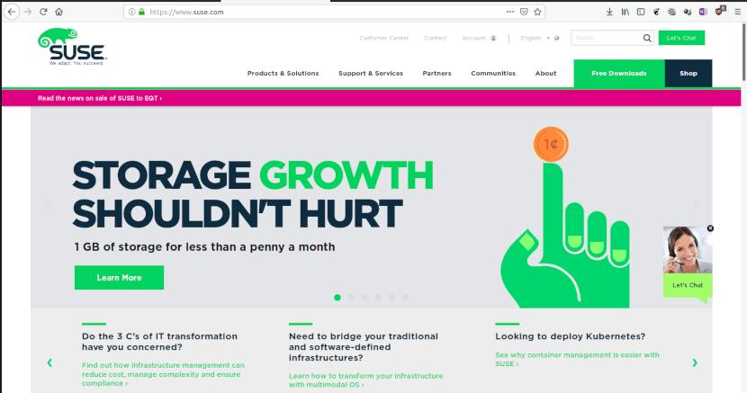 Captura de pantalla de la web de SUSE