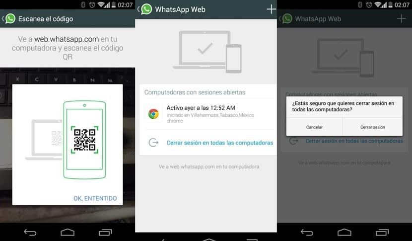 Menú app Whastapp
