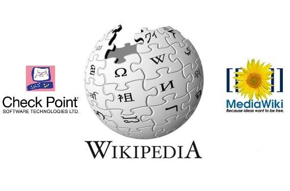 Logo central de la Wikipedia y a los lados el logo de Check Point y de MediaWiki