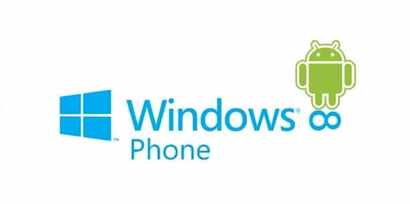Logotipo de Windows Phone 8 con Andy sobre el ocho volcado