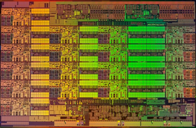 Die shot o micrografía de un Intel XEON E5