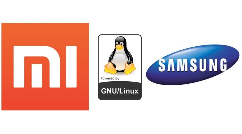 Logo Xiaomi, Samsung y Tux
